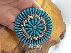 Zuni Petit Point Pin/Pendant Sterling Silver Turquoise Cluster Signed G. &A. B
