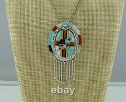 Zuni Ronnie Calabaza Sterling Silver Multi Stone Inlay Sunface Pendant / Pin