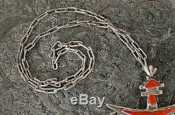 Zuni Signed Sterling Silver Knifewing Pin Necklace Coral Pin American Indian