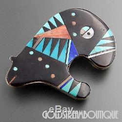 Zuni Signed T 925 Silver Gemstone Mosaic Inlay Medicinal Bear Fetish Pendant Pin