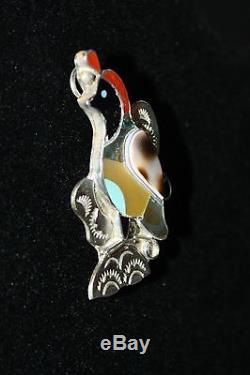 Zuni Sterling 925 Quail Pendant Brooch Pin Hand Signed Wilton & Carol Niiha