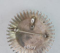 Zuni Sterling Needlepoint Turquoise brooch Pin Pendant Norbert & Florenda Haskie
