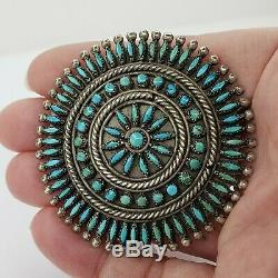 Zuni Sterling Silver 925 and Turquoise Petit Point Brooch Pin