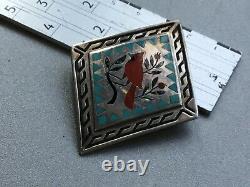 Zuni Sterling Silver Cardinal Motif Bolo Tie by Dennis & Nancy Edaakie