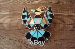 Zuni Sterling Silver Inlay Peyote Bird Pin/Pendant D. Gasper