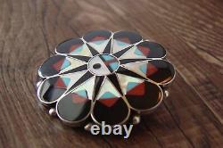 Zuni Sterling Silver Inlay Sunface Pin/Pendant D. Gasper