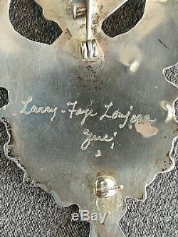 Zuni Sterling Silver Inlay Thunderbird Pin Pendant Signed Larry Faye Lonjose