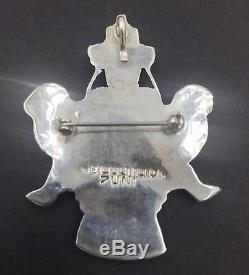Zuni Sterling Silver Knifewing Pin Pendant Signed