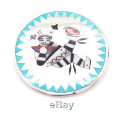 Zuni Sterling Silver Multi-Stone Koshari Inlay Pendant/Pin D&E Edaakie