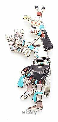 Zuni Sterling Silver Multi-stone Harvest Dancer Inlay Pendant/Pin A. L. Shirley