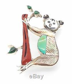 Zuni Sterling Silver Multi-stone Koala Bear Pendant/Pin Valerie Comosono