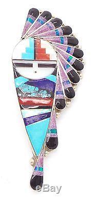 Zuni Sterling Silver Multi-stone Sun Face Inlay Pendant/Pin S&G Gchachu