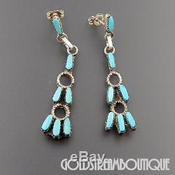 Zuni Sterling Silver Petit Point Sleeping Beauty Turquoise Dangle Post Earrings