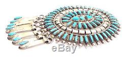 Zuni Sterling Silver Turquoise Needlepoint Cluster Pendant/Pin Beverly Etsate