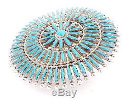 Zuni Sterling Silver Turquoise Needlepoint Cluster Pendant/Pin L&C Waatsa