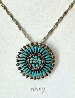 Zuni Sterling Silver Turquoise Needlepoint Pendant Pin Attributed Smokey Gehachu