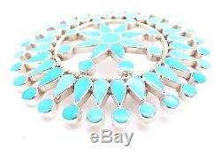 Zuni Sterling Silver Turquoise Petit Point Cluster Pendant/Pin- Fadrian Bowannie