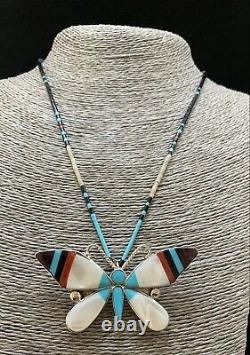 Zuni Sterling Silver Turquoise Shell Coral Inlay Butterfly Pin pendant