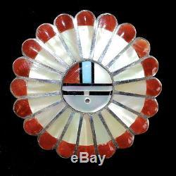 Zuni Sunface Channel Inlay Pendant/Pin by Verden & Ester Niiha, 7/8 x 7/8
