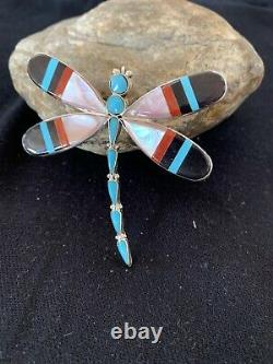 Zuni Turquoise MOP Inlay Dragonfly Sterling Silver Necklace Pin Pendant 1363