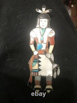 Zuni inlay Sterling Silver Turquoise Jet Shell Coral tribal dancer pin brooch